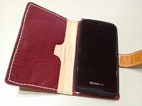 スマホケース手帳型赤キャメル201503292
