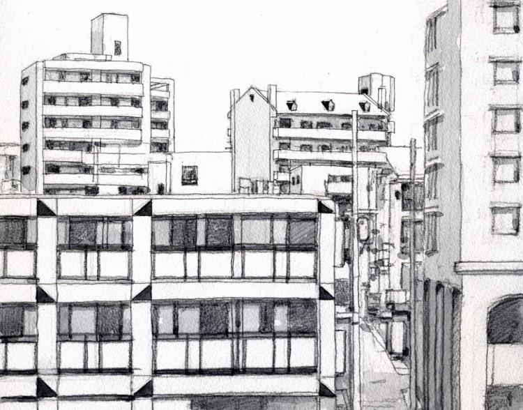 枚方駅前の風景 グリザイユ (750x588)