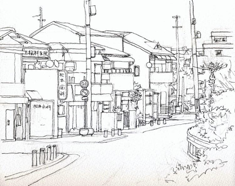 川向うの街並み デッサン (750x594)