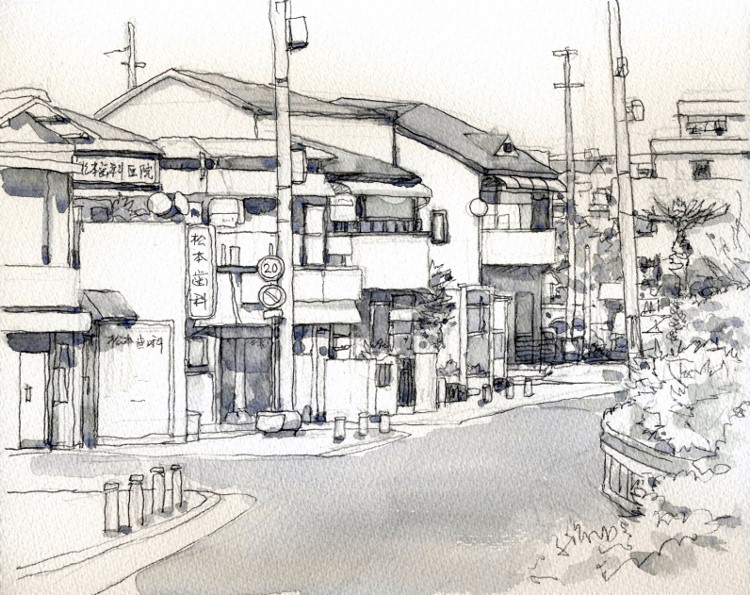 川向うの街並み グリザイユ (750x595)