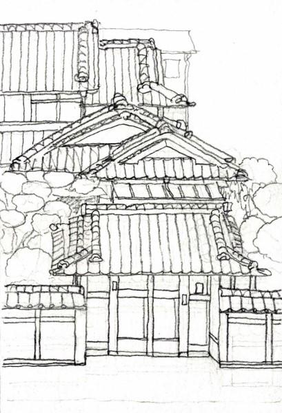 摂津の旧家 デッサン (409x600)