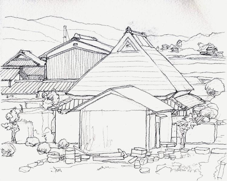 加茂町の民家 デッサン (750x596)