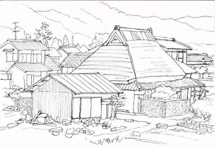 加茂町の民家南側 デッサン (750x519)