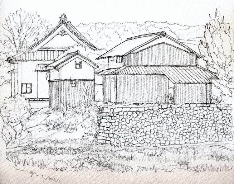 加茂町の民家2 デッサン (750x591)
