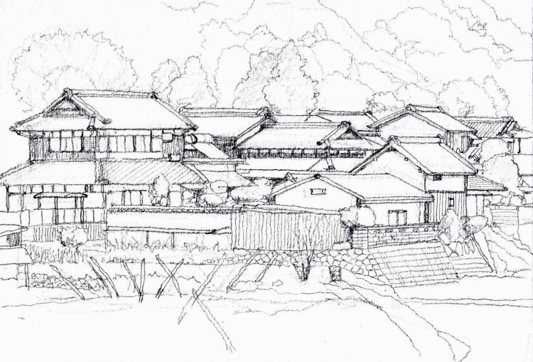 加茂町の風景 デッサン (750x509)