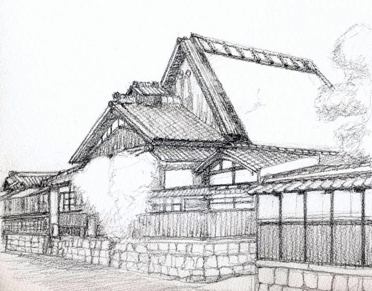 京田辺の旧家 デッサン (750x588)