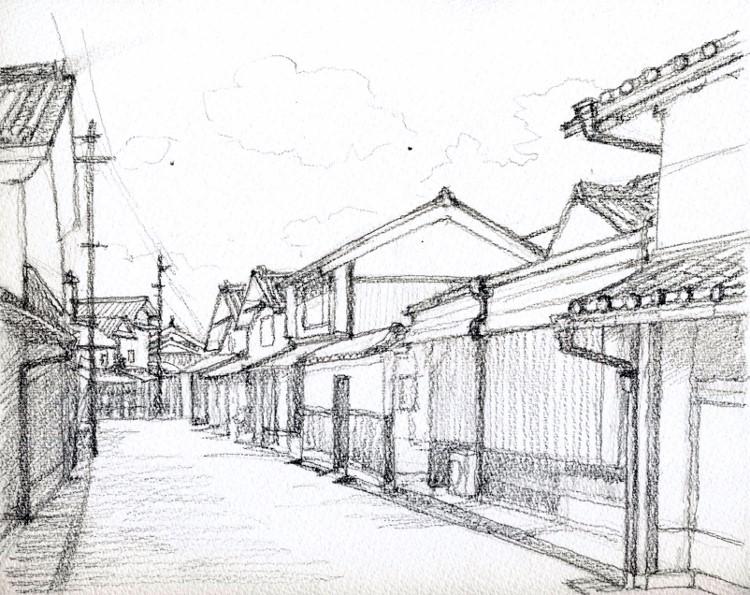 丹後篠山の街並み デッサン (750x595)