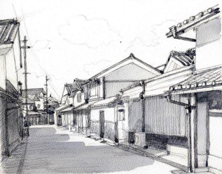 丹後篠山の街並み グリザイユ (750x587)
