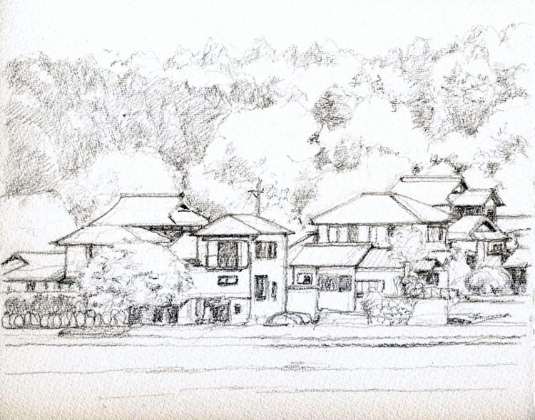 能勢天王の風景2 デッサン (750x589)