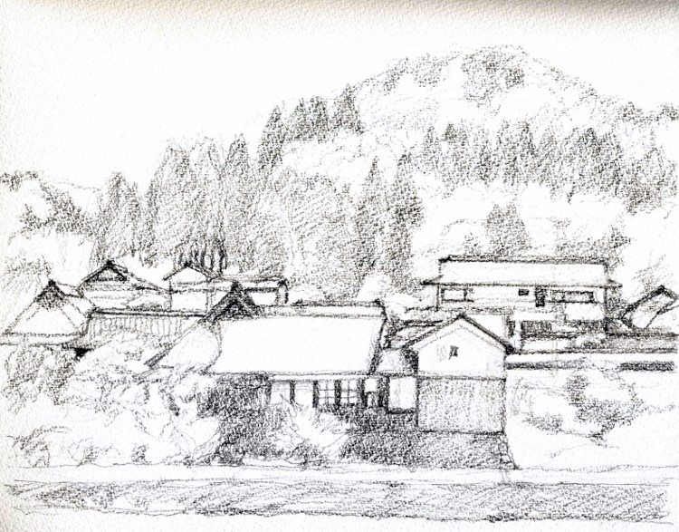 能勢天王の風景3 デッサン (750x587)