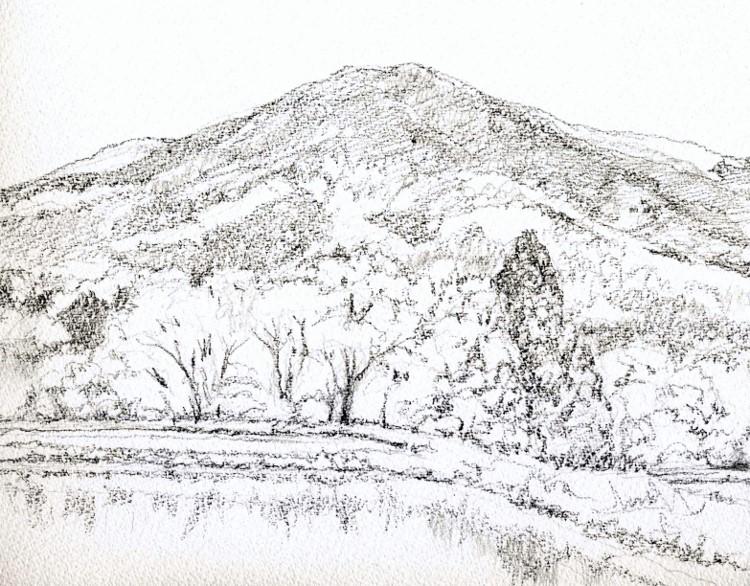 琵琶湖畔の田植え前 デッサン (750x586)