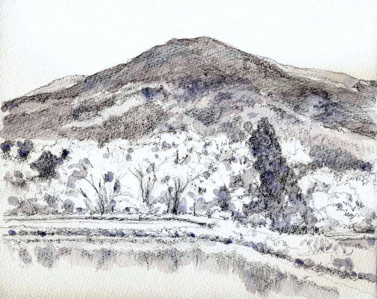 琵琶湖畔の田植え前 グリザイユ (750x596)