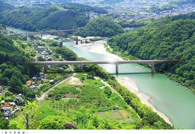 苗木城から見下ろすリニア中央新幹線第二木曽川橋梁完成予想図合成1506linearnakatsugawa01.jpg