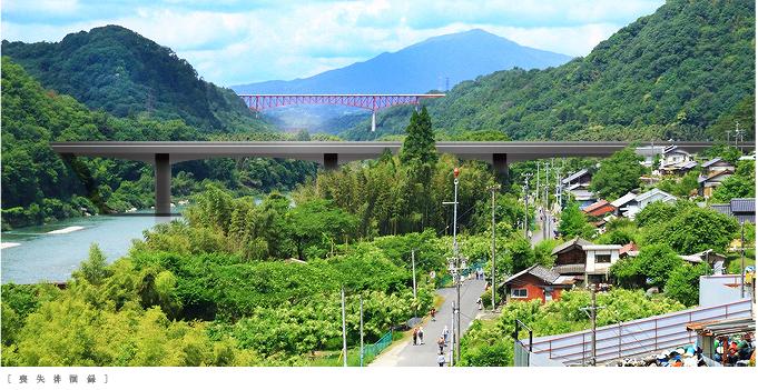 中津川市リニア中央新幹線第二木曽川橋梁完成予想図からフードを外す1506linearnakatsugawa03.jpg