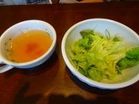 パスタランチのスープとサラダ