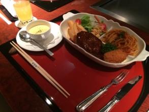 水戸プラザホテル 鉄板焼きレストランのハンバーグ定食