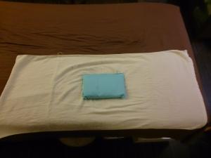 まず、バスタオルを広げ、真ん中にアイスノンを置きます。