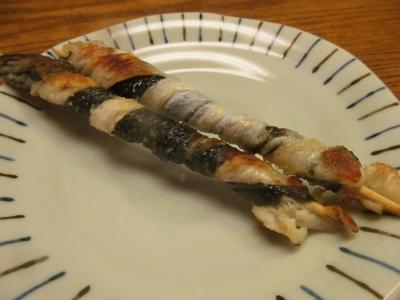 マコガレイの皮串焼き1