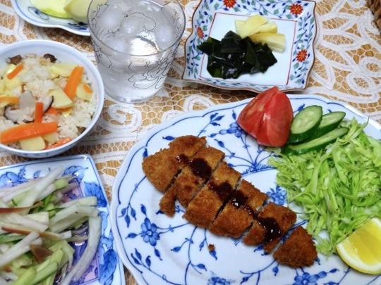 トンカツと竹の子ご飯