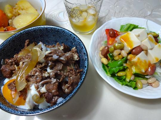 牛丼と豆サラダ