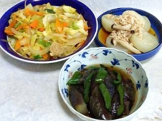 150519_3110野菜炒め・風呂吹き大根のそぼろ餡・茄子の煮浸しVGA