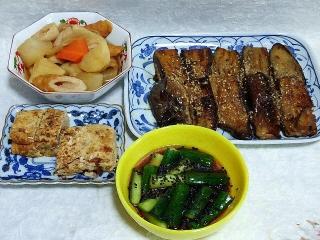 150605_3146野菜の煮物・茄子のはさみ焼き・ひき肉入り卵焼き・胡瓜の胡麻醤油漬けVGA