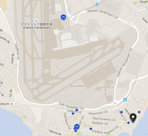 アタチュルク空港に近いホテル