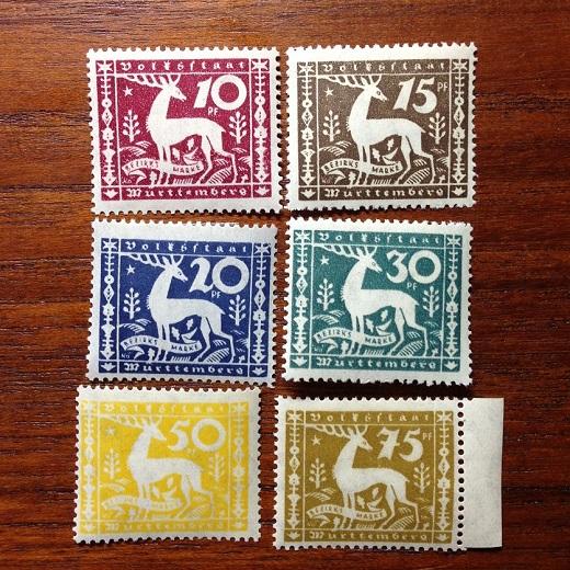 IMG_9134aヴュルテンベルク 1920年公用切手6種