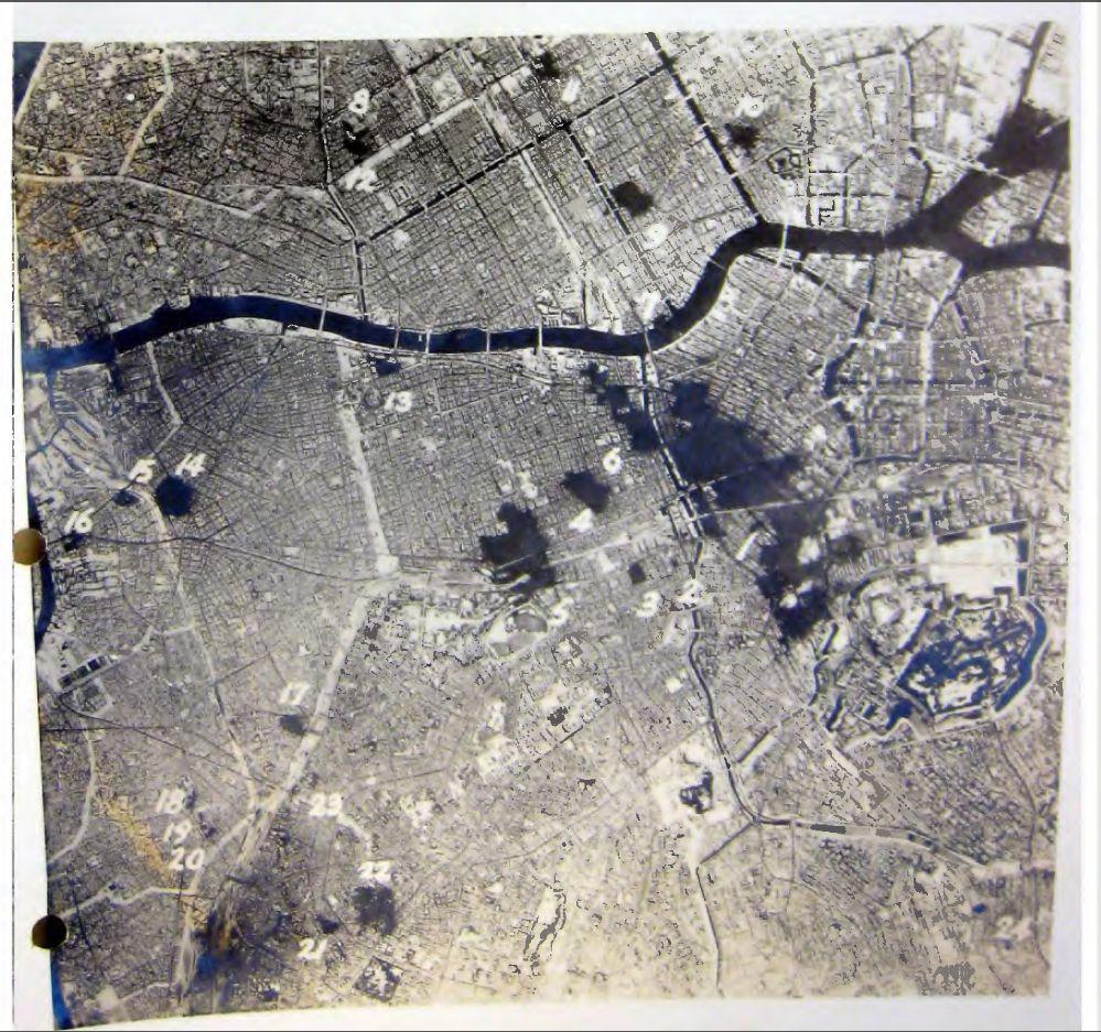昭和20年2月25日の東京空襲での被害状況を示す空中写真
