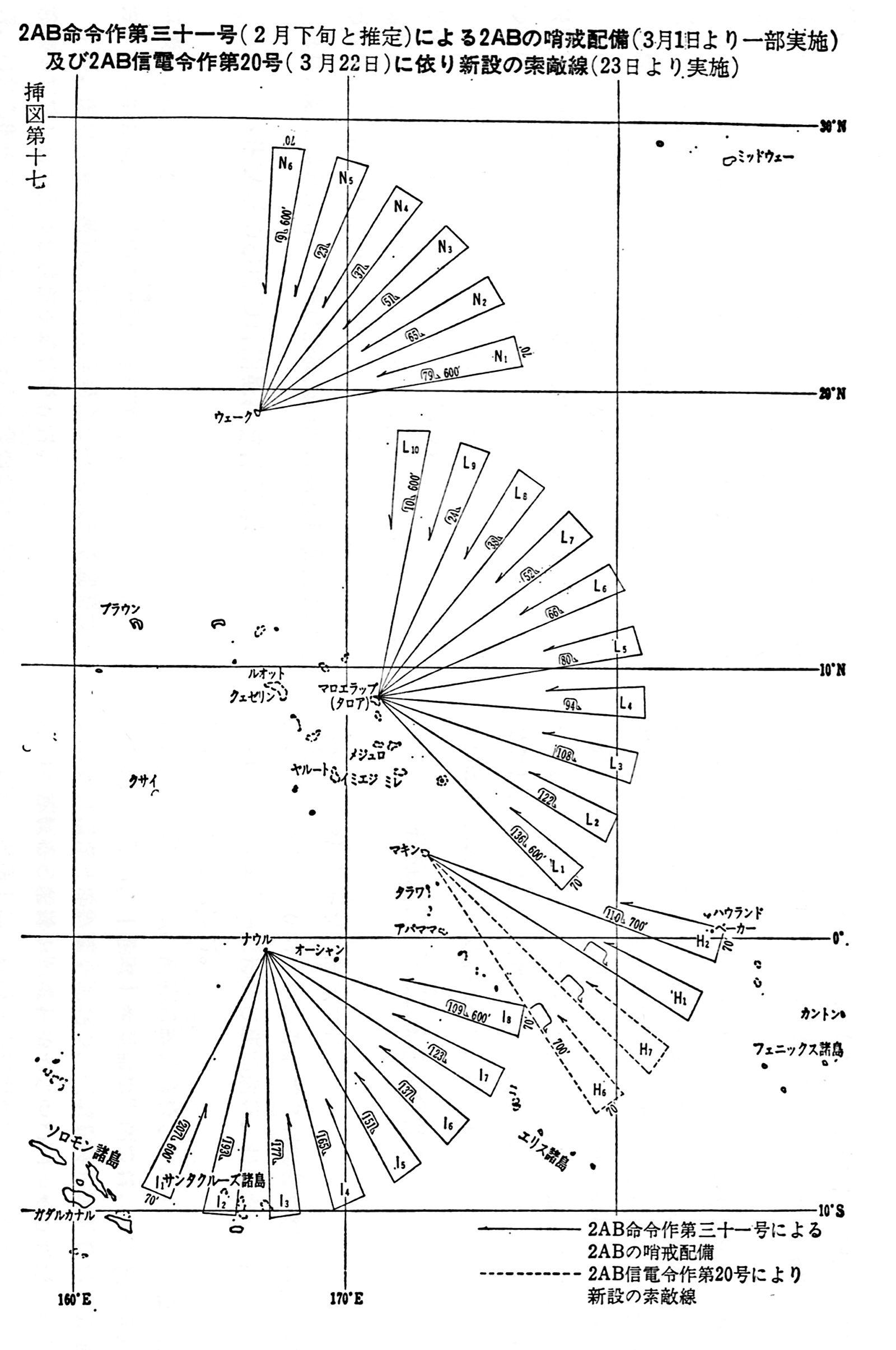 >昭和18年3月の索敵線