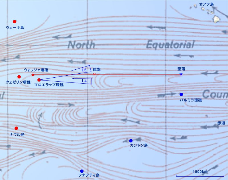 ザンペリーニたちの漂流図に上の海流の図を重ね合わせたもの