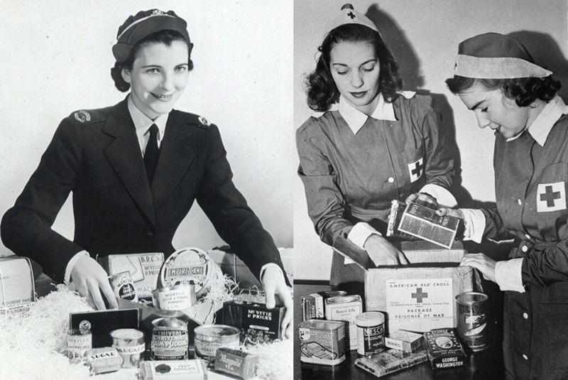 慰問品を詰める女性
