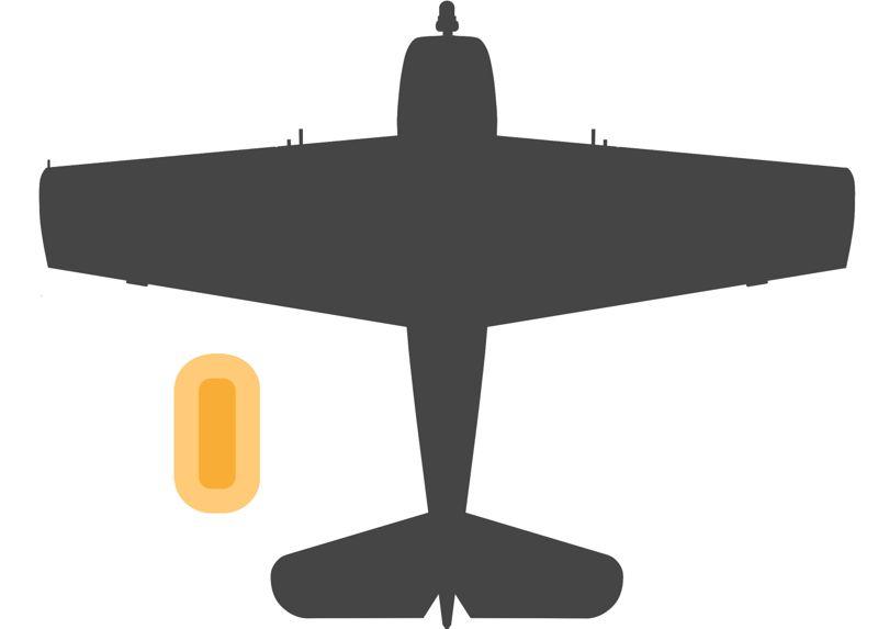 F6F戦闘機と救命ボートのサイズの比較