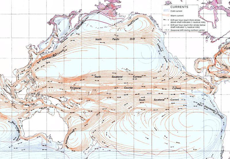 1943年米軍作成の海流の図
