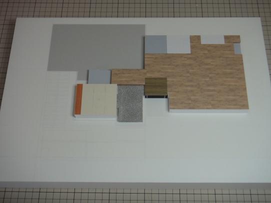 展示台に床を接着
