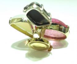 K18オパール・ピンク色石ブローチ加工 ●