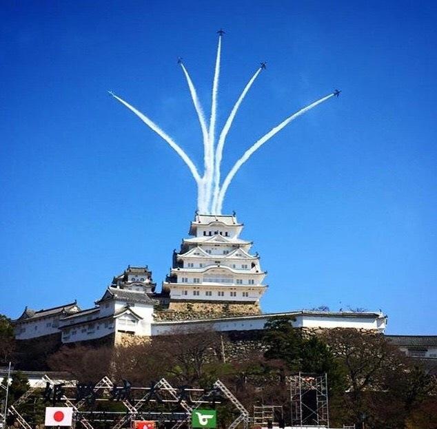 3/26姫路城にブルーインパルスがやってきました。