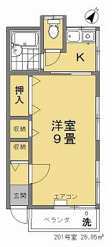 こせき荘201号室 間取図
