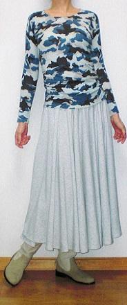 青カモフラ+スカート