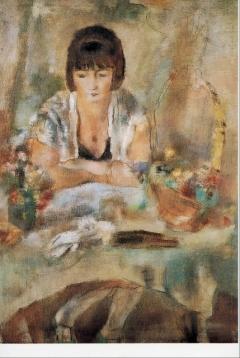テーブルのリュシーの肖像