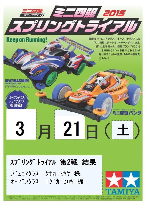 2015 スプリングトライアル0321 結果