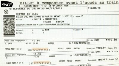 パリ28鉄道チケット