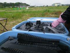 [写真]育苗用ポットを洗浄している様子