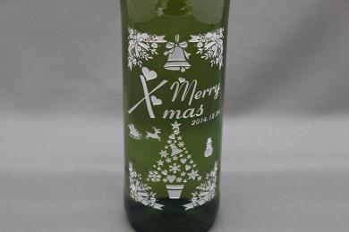 メリークリスマスワイン彫刻