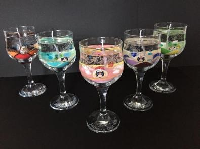 周年記念の彫刻グラスにジェルキャンドル