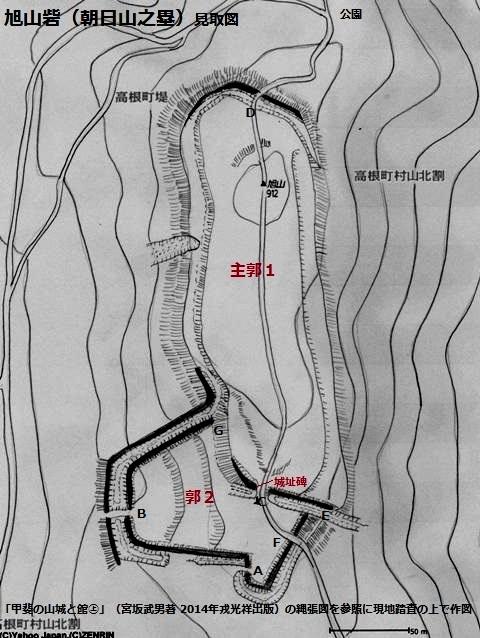 旭山砦見取図(北杜市)