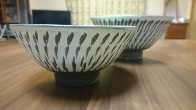 小鹿田焼お茶碗アップ