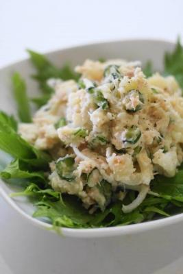 新玉ねぎとノンオイルツナの和風ポテトサラダ1