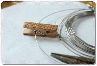 簡単フラワーラベルを手作り、100均ショップセリアのシュートピンチ3Pセットと針金で雑貨アレンジ