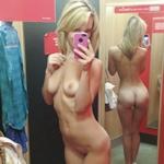 ブティックの試着室で裸になって自分撮りした西洋女性のヌード画像特集
